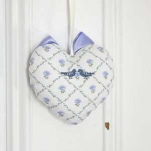 Laura Ashley fabric heart, rhombus with a blue rose in the center, two embroidered birds.