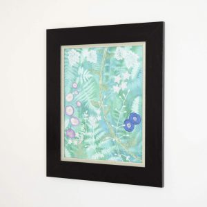 Perspective view of the canvas Grow Up. Textile art canvas showing flowers and foliage mixed as in an undergrowth.