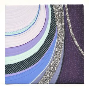 Textile Art canvas Moraine. Abstract pattern of curves starting from the top and widening downwards. Colors: lilac, purple, aqua, blue, black, white.