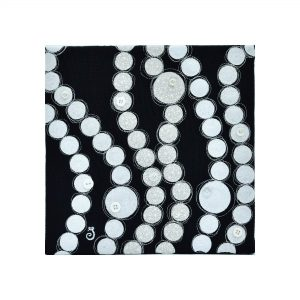 Textile art canvas Boiling point. Abstract art, White and ivory circles of different sizes in unequal rows.