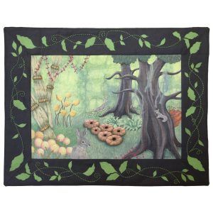 Textile art piece Hide-and-Seek by Christine Grenier. Artwork of an enchanted forest with hares and a squirrel playing hide and seek. Fantastic flowers and vegetation in three dimensions on a dyed fabric.