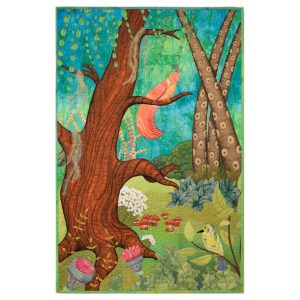 Colorful textile art piece representing a conversation between two birds in an enchanted forest.
