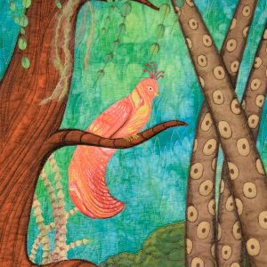 Detail of the piece of textile art Did you know showing a pink and yellow bird on a branch. The bird is made with a marbled fabric and the turquoise blue background is a hand dyed fabric. The vegetation is imaginative.