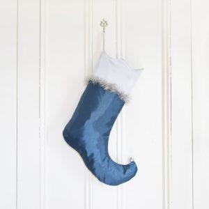 Christmas stocking Comet, curved foot, and serrated border, turquoise and silver gray.