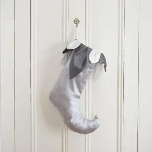 Silver-gray satin Christmas stocking Eclair with lapel of gray and white petals.