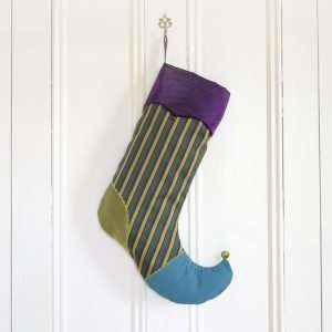 Christmas stocking Farandole, green and chartreuse stripes, turquoise foot, chartreuse heel, purple lapel.