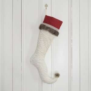 Elf stocking Frimas, off-white faux fur.