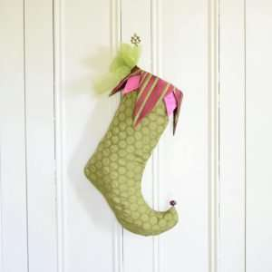 Christmas stocking Praline, chartreuse green and pink, jester style, curly toe.