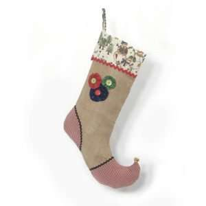 Christmas stocking Let it Snow in jute with red gingham and red, green and blue fabric flowers.