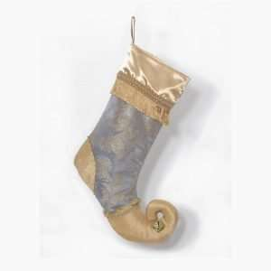 Christmas stocking Louis XVI, blue and gold jacquard leg, heel and toe in gold taffeta, gold satin lapel with gold fringe.