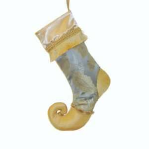 Christmas stocking Louis XVI, blue and gold jacquard, satin, taffeta and gold fringe.