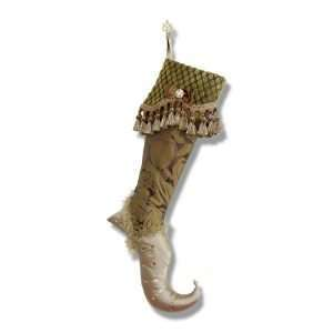 Gold Christmas stocking, damask silk leg, taffeta foot, velvet cuff with trimmings and jewel.