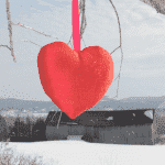 Red silk heart in front of a winter landscape with an old barn.