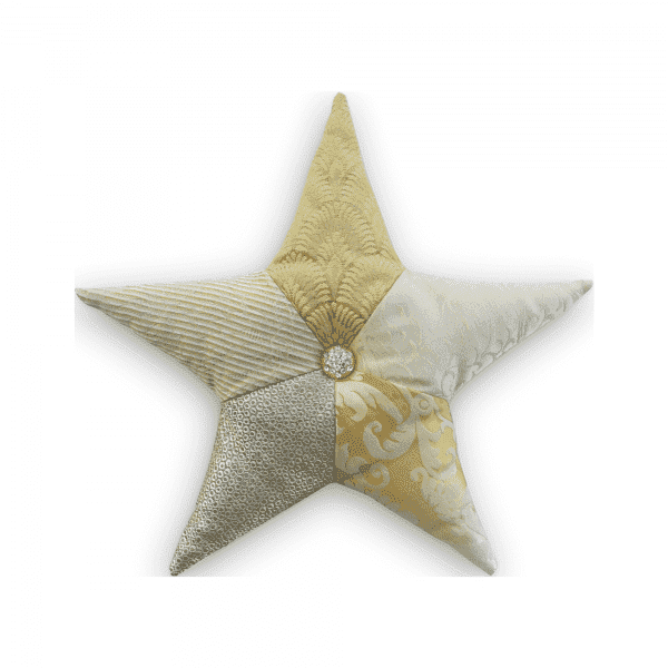 Cushion Adara I, a five-pointed star with different textured gold fabrics tufted with a jewel in the center.