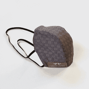 Protective mask in gray cotton, geometric print tone on tone.