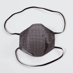 Protective mask in tone-on-tone gray fabric with black elastics.