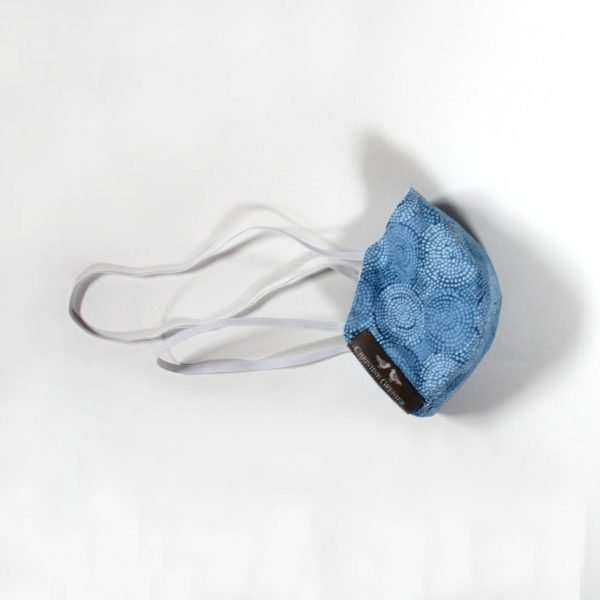 Blue printed cotton mask with elastics behind the head