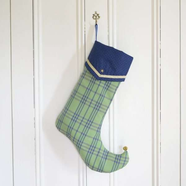Boy's blue and green elf stocking