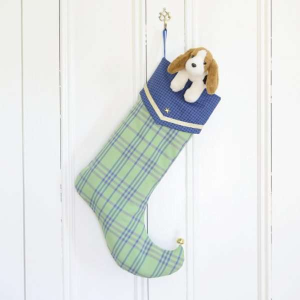 Green and blue check Christmas stocking decorated with plush for boys