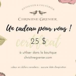 Certificat Cadeau 25$ Christine Grenier artiste textile